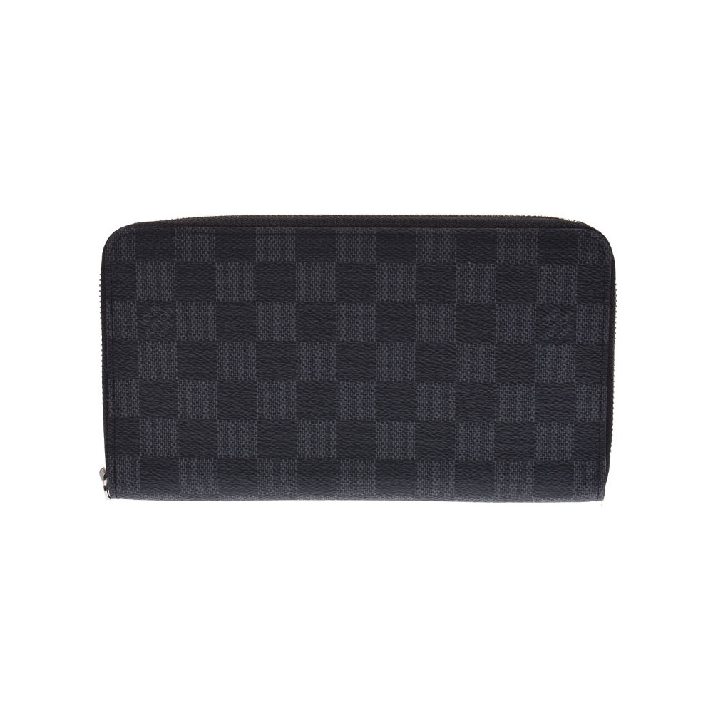 Louis Vuitton Graphite Zippy Organizer Black N63077 Men's Genuine Leather Long Wallet AB Rank LOUIS VUITTON Used Ginzo