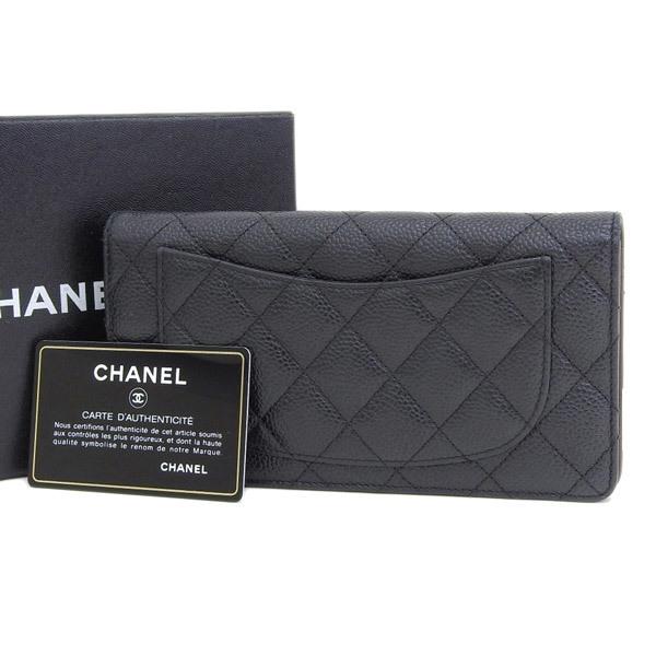 b5dd11ef8fefe8 Auth Chanel Caviar Leather Long Wallet (bi-fold) Black 2101209682221 ...