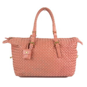 Genuine Bottega Veneta Mini Boston Bag Intrecciato Pink Leather