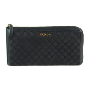 Genuine PRADA Prada nylon L-shaped zipper Long wallet black leather