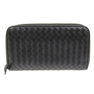 Genuine Bottega Veneta Intrecherto Zip Around Wallet Black Purse Leather