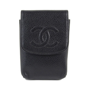 Genuine CHANEL Chanel Caviar Skin Cigarette Case Black 9th