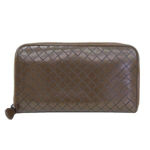 Genuine BOTTEGA VENETA Bottega Veneta round wallet brown leather