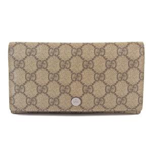 Genuine GUCCI Gucci PVC Purse Beige Brown Leather