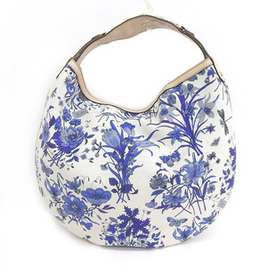 Genuine GUCCI Gucci Flower Pattern One Shoulder Bag White Blue Beige Leather