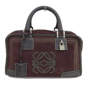 Genuine LOEWE Loewe Suede Amazona Handbag Tea-based Wine Bag Leather
