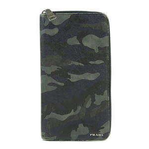 Genuine PRADA Prada Saifiano round fastener wallet camouflage 紺 2M1220 leather