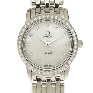 Genuine OMEGA Omega Devil Prestige 12P Diamond Ladies Quartz Wrist Watch Model: 4575.76