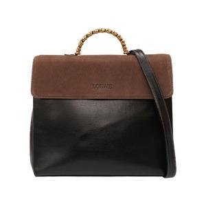Loewe Twist Vintage Leather Black Brown Handbag Bag 0032 LOEWE