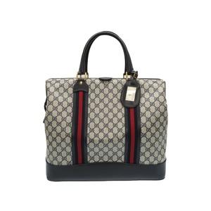 Gucci Old Shelly GG Pattern Boston Bag Handbag Doctor PVC Navy 0086 GUCCI