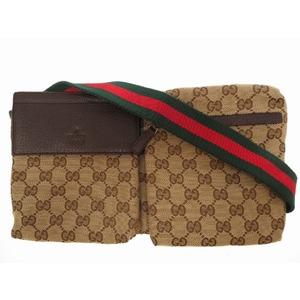 Gucci GG Canvas Shelly Shoulder Bag Waist Beige 0179 GUCCI Women