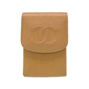 Chanel Caviar Skin Beige Coco Mark Cigarette Case Multi-Case Electronic 0190 CHANEL