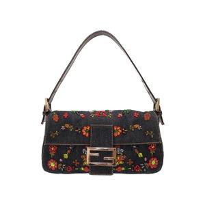Fendi Manma Bucket Denim Beads Navy Handbag Bag 紺 0035 FENDI