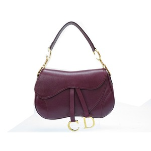 Christian Dior Leather Saddle Bag Wine Red Hand 0103 Christian Women
