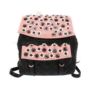 Christian Dior Canage Flower Leather Black Pink Rucksack Bag 0202 Christian