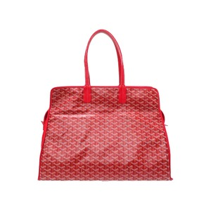 Goyard Ardy GM Red PVC Coated Canvas Leather Tote Bag 0185 GOYARD