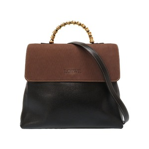 Loewe Twist Vintage Leather Black Brown Handbag Bag 0164 LOEWE