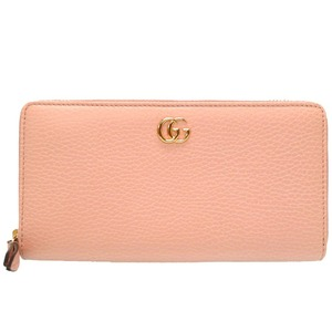 Gucci GG Petit Marmont Leather Pink Zip Around Wallet 456117 Round zipper Long wallet Purse 0208 GUCCI