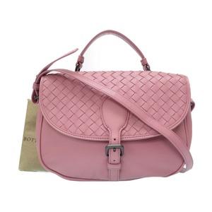 Bottega Veneta Intrecciato Leather 2way Shoulder Bag Pink Hand 0158 BOTTEGA VENETA