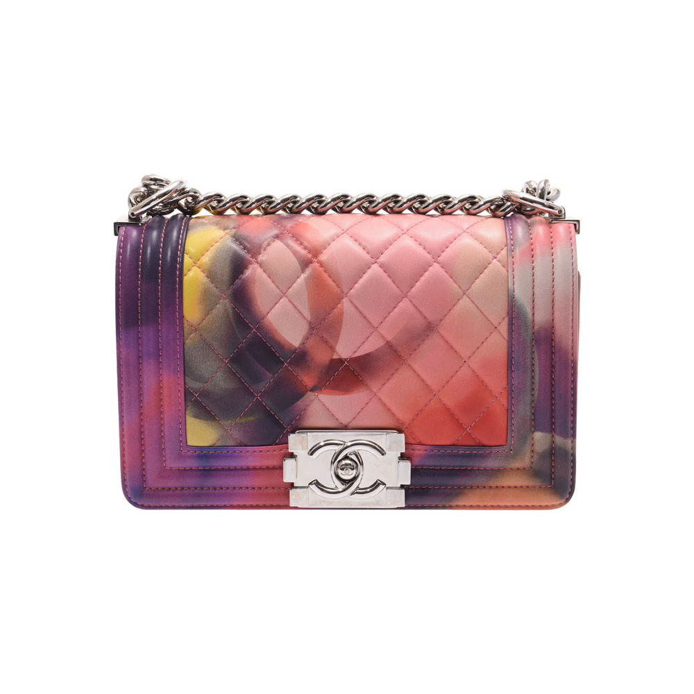 Chanel Boy Mini-Chain Shoulder Bag Multi-color SV Bracket Women's Lambskin A-rank Beauty Product CHANEL Used Ginzo