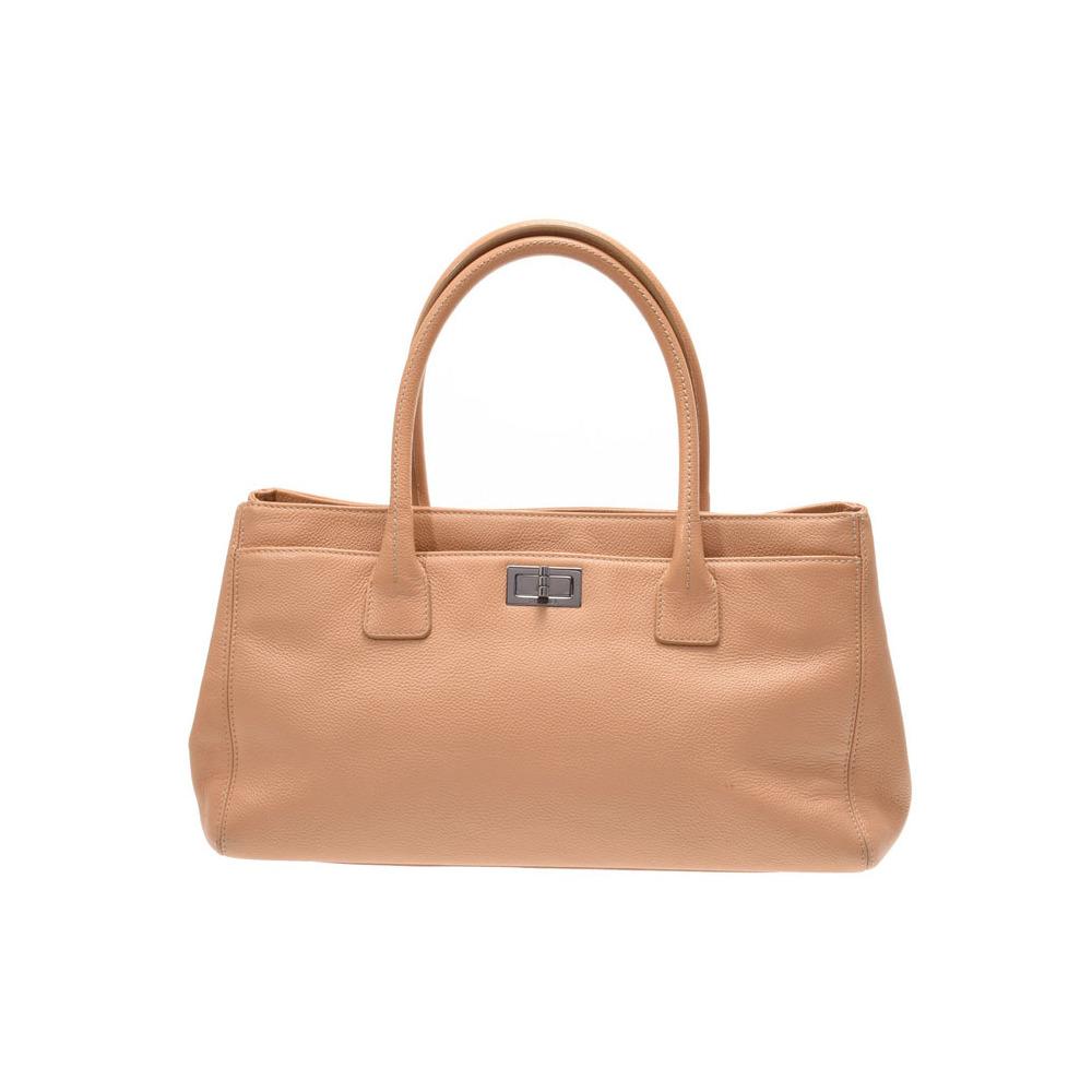 Chanel 2.55 Series Executive Tote Bag Beige SV Bracket Women's Soft Caviar Skin B Rank CHANEL Used Ginzo