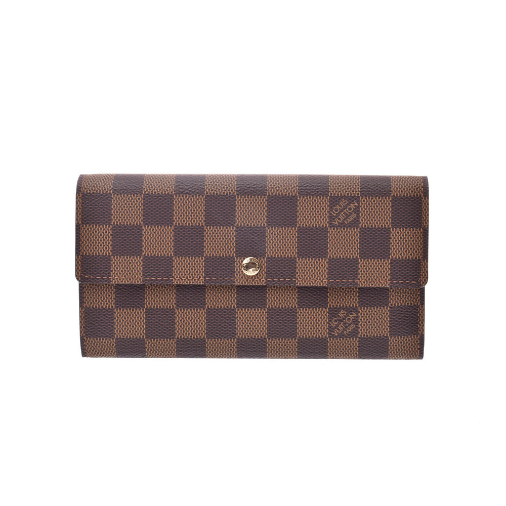 Louis Vuitton Damier Portofeil Sarah Old Brown N61734 Men's Women's Genuine Leather Long Purse New Docome LOUIS VUITTON