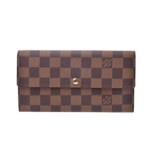 Louis Vuitton Damier Portofeil Sarah Old Brown N61734 Men's Women's Genuine Leather Long Purse New Docome LOUIS VUITTON