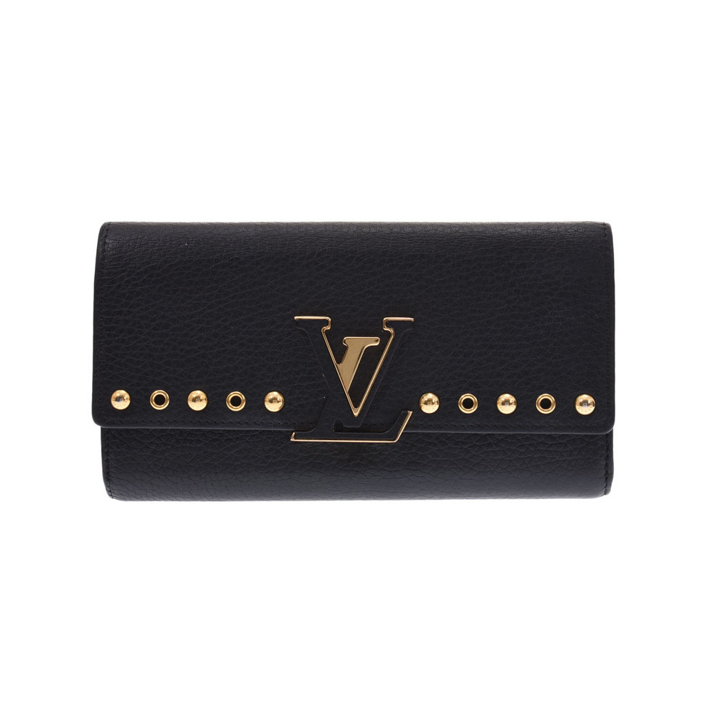 Louis Vuitton Portofoil Capissine Black M62764 Ladies trillon leather wallet B rank LOUIS VUITTON used Ginzo