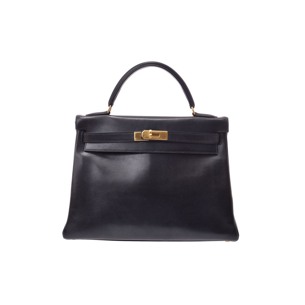 Hermes Kerry 32 Black G bracket □ A stamped inner stitch Women's BOX calf 2WAY bag B rank HERMES with strap Used Ginzo
