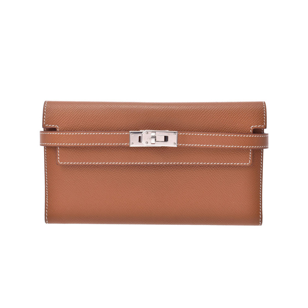 HERMES Kelly wallet long gold SV metal fittings men's ladies' Epson three fold B rank used Ginzo