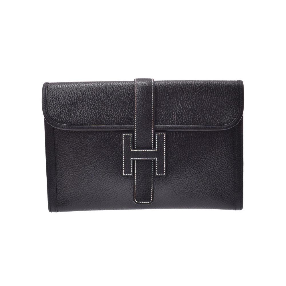 Hermes Jiji PM Ardennes □ A stamped women's black clutch bag AB rank HERMES used Ginzo