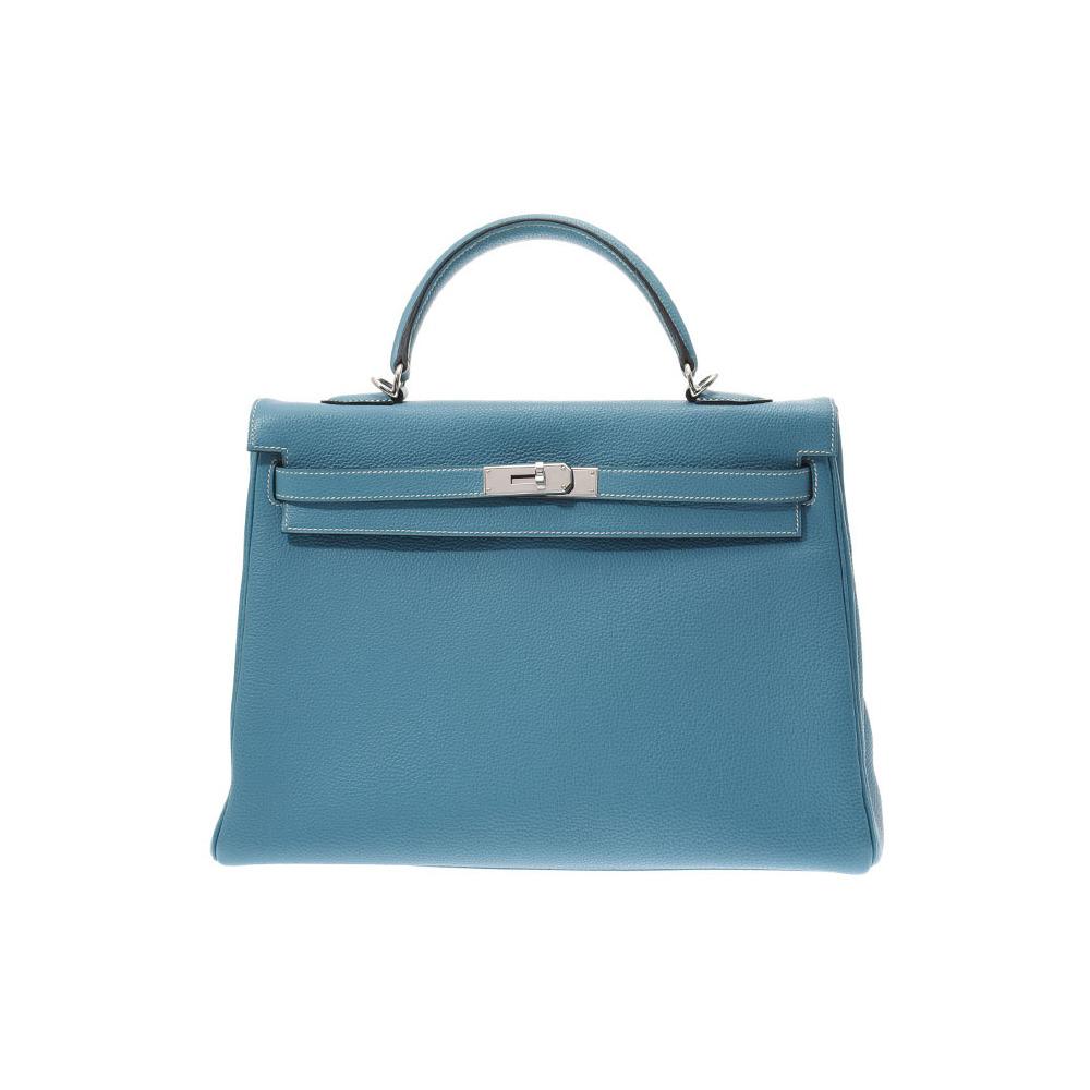 Hermes Kelly 35 Blue Jean SV metal fittings □ L engraved Ladies Togo 2WAY handbag AB rank HERMES box Used Ginzo