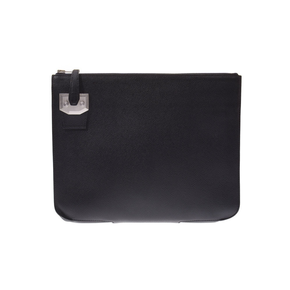 Hermes City Hall PM Black SV bracket Men's A stamped Epson clutch bag B rank HERMES box Used Ginzo