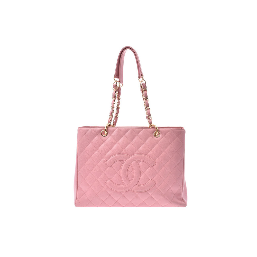 Chanel Matrasse GST Tote Bag Old Type Pink G Hardware Ladies Caviar Skin B Rank CHANEL Used Ginzo