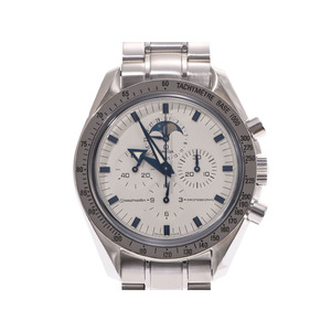 オメガ スピードマスター ムーンフェイス 白文字盤 3575.20 メンズ SS 手巻き 腕時計 Aランク 美品 OMEGA ギャラ 中古 銀蔵