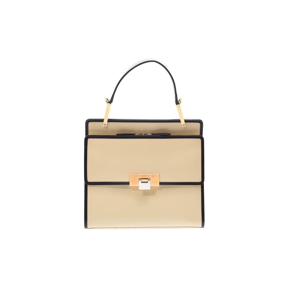 Balenciaga Handbag Beige / Black Ladies Leather AB Rank BALENCIAGA Used Ginzo