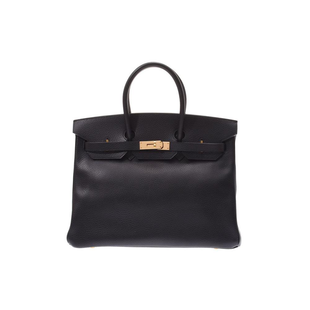 Hermes Birkin 35 Black GP Bracket □ F stamped Ladies Ardennes Handbags A rank HERMES Used Ginzo