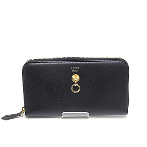 FENDI Fendi round zipper long wallet 8M0299 black calf leather