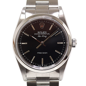 ROLEX Rolex Men's Watch Air King 14000M Number P (Made in 2000) Black (Black) Dial OH Finished