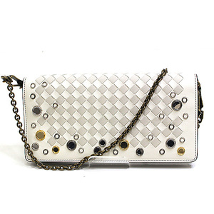 Bottega Veneta Intrecciato Nappa Chain Wallet 510564 White