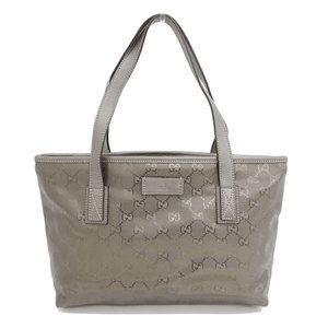 Genuine GUCCI Gucci GG Implied PVC Tote Bag Bronze Leather