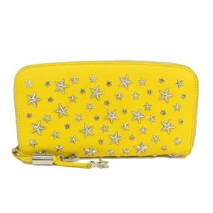 Genuine JIMMY CHOO Jimmy Choo Studs Round Purse Yellow Leather