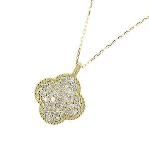 4℃ Genuine K18 Diamond 0.30ct Clover Necklace 1.4g