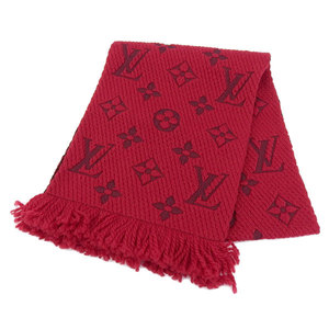 Genuine Louis Vuitton Escalp Logomania Scarf Red Ruby M72432