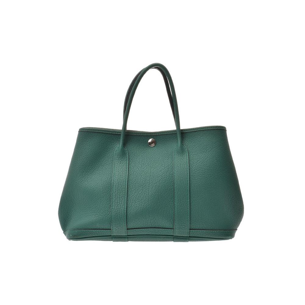 HERMES Garden Party TPM Malachite □ R Engraved Ladies Negonda Handbag AB Rank Used Ginzo