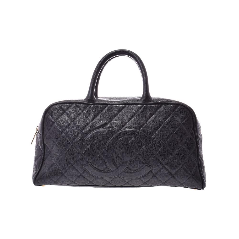 Chanel Matrasse Boston bag Black G hardware Women's caviar skin B rank CHANEL Galla Used Ginzo