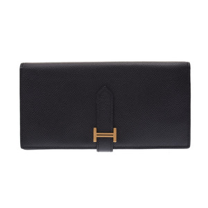 Hermes Beansfure Black G Bracket □ P engraved Women's Vaux Epson Long Purse B rank HERMES Used Ginzo