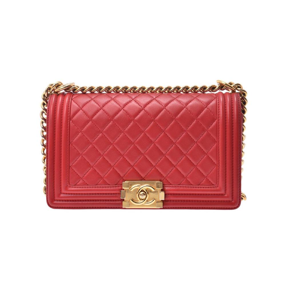 Chanel Boy Chain Shoulder Bag Red G Bracket Women's Lambskin AB Rank CHANEL Used Ginzo