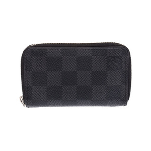 Louis Vuitton Graphite Zippy Coin Purse Black N63076 Men's Genuine Leather Case Purses B Rank LOUIS VUITTON Used Ginzo