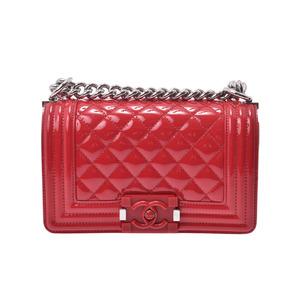 シャネル(Chanel) シャネル ボーイシャネル ミニチェーンショルダーバッグ 赤 SV金具 レディース エナメル Aランク 美品 CHANEL 中古 銀蔵